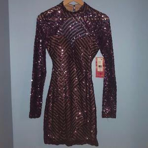 Purple Sparkly Open Back Bodycon Dress